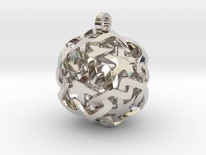 12-Stars sphere pendant in Rhodium Plated Brass