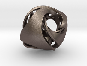 Pendant_Tetrahedron Twist No.1 in Polished Bronzed Silver Steel