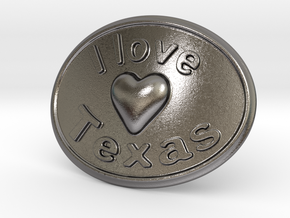 I Love Texas Belt Buckle in Polished Nickel Steel