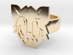 Boar Ring in 14k Gold Plated Brass: 8 / 56.75