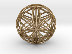 Double Hexasphere w/nested Hexahedron in Polished Gold Steel