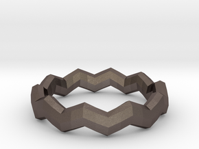Zig Zag Ring in Polished Bronzed Silver Steel: 4 / 46.5