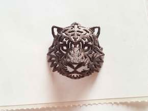 Tiger Head Pendant in Polished Bronze Steel
