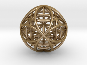 OctaHexasphere w/ nested Platonic Solids in Polished Gold Steel