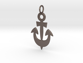 Anchor Symbol Pendant Charm in Polished Bronzed Silver Steel
