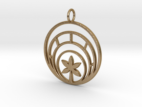 Plant In Circle Pendant Charm in Polished Gold Steel