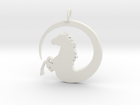 Pretty Horse In Circle Pendant Charm in White Natural Versatile Plastic