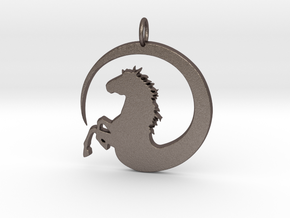 Pretty Horse In Circle Pendant Charm in Polished Bronzed Silver Steel