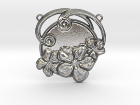 Art Nouveau Repoussé Flower Pendant SMK in Natural Silver