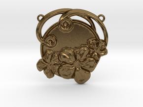 Art Nouveau Repoussé Flower Pendant SMK in Natural Bronze