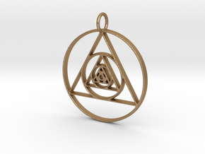 Modern Abstract Circles And Triangles Pendant in Matte Gold Steel