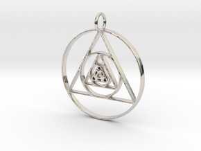 Modern Abstract Circles And Triangles Pendant in Rhodium Plated Brass