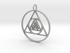Modern Abstract Circles And Triangles Pendant in Aluminum