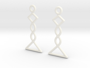 Celtic Weave Earrings - WE031 in White Processed Versatile Plastic