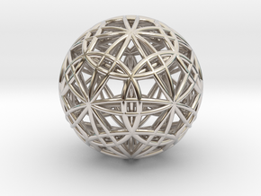 IcosaDodecasphere with Icosahedron & Dodecahedron in Platinum