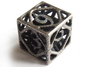 Cage Die6 in Polished Bronzed Silver Steel
