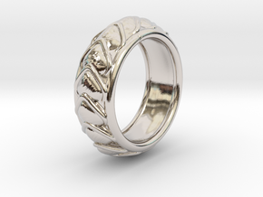 Dragon Scales Ring size 10 in Rhodium Plated Brass