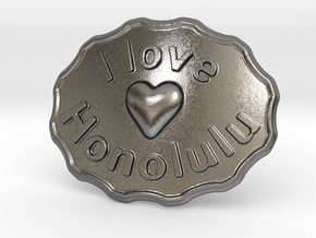 I Love Honolulu Belt Buckle in Polished Nickel Steel