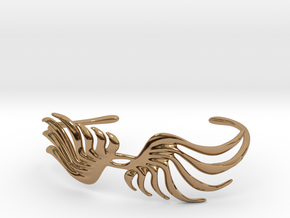Feathery Bracelet (Cuff) in Polished Brass