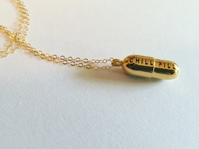 Chill Pill Pendant in 18k Gold Plated Brass