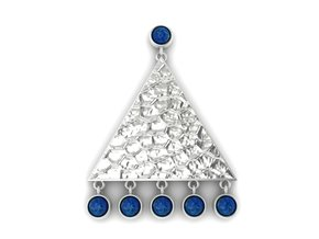 Sterling Silver Triangle & Lapis Earrings in Polished Silver