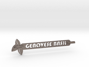 Genovese Basil Plant Stake in Polished Bronzed Silver Steel