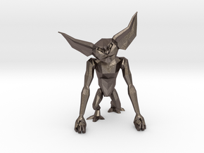 LowPoly Gremlin inspired Phone Holder in Polished Bronzed Silver Steel
