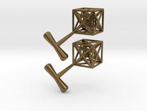 Hypercube Cuff Links in Natural Bronze