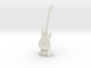 Electric Guitar Small Statue in White Strong & Flexible