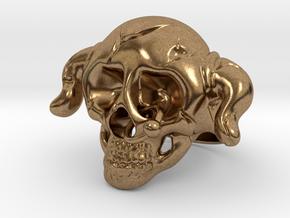 Nasty Skull Ring in Natural Brass (Interlocking Parts)