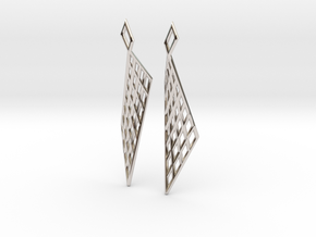 Mesh Earring Set in Rhodium Plated Brass