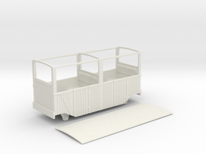 RH&DR 4 wheel open (unglazed) coach in 09 in White Natural Versatile Plastic