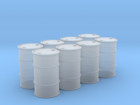 HO 55 Gallon Drum set of 8 in Smooth Fine Detail Plastic