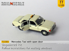 Mercedes-Benz W123 Taxi w/ open door (TT 1:120) in Smooth Fine Detail Plastic