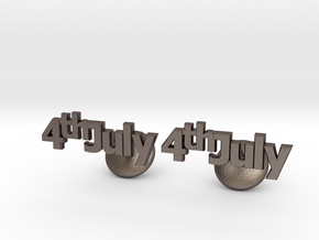 4th Of July Cufflinks in Polished Bronzed Silver Steel