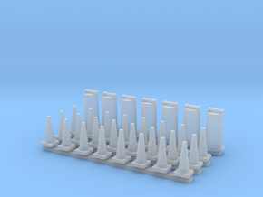 'HO Scale' - Road Construction Cones and Barrels in Smooth Fine Detail Plastic