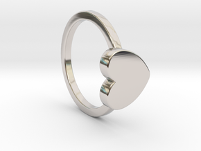 Heart Ring Size 5 in Rhodium Plated Brass