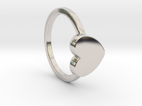 Heart Ring Size 5.5 in Rhodium Plated Brass
