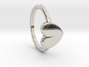Heart Ring Size 6 in Rhodium Plated Brass
