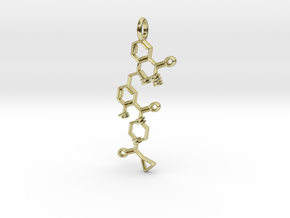 Lynparza pendant, vertical in 18k Gold Plated Brass