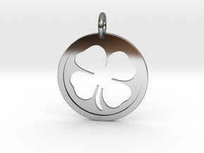 Four-Leaf Clover in Fine Detail Polished Silver