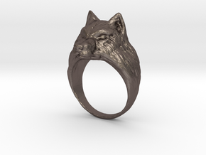 Wolf ring in Polished Bronzed Silver Steel