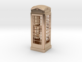 K6 Telephone Box (7.5cm) in 14k Rose Gold Plated Brass