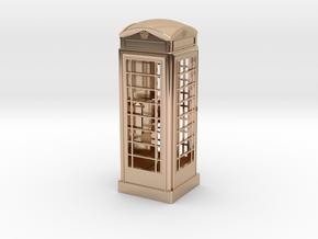 K6 Telephone Box (7.5cm) in 14k Rose Gold Plated Brass