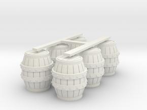 O Scale Barrels in White Natural Versatile Plastic