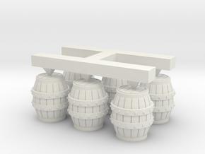 S Scale Barrels  in White Natural Versatile Plastic