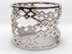 Twill Weave Structure Ring Size 6.5 in Rhodium Plated Brass