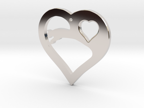 The Eager Heart (precious metal pendant) in Rhodium Plated Brass