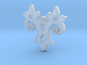 Twin Flower Pendant in Smooth Fine Detail Plastic