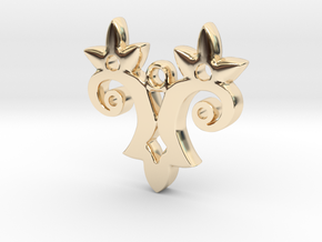 Twin Flower Pendant in 14K Yellow Gold